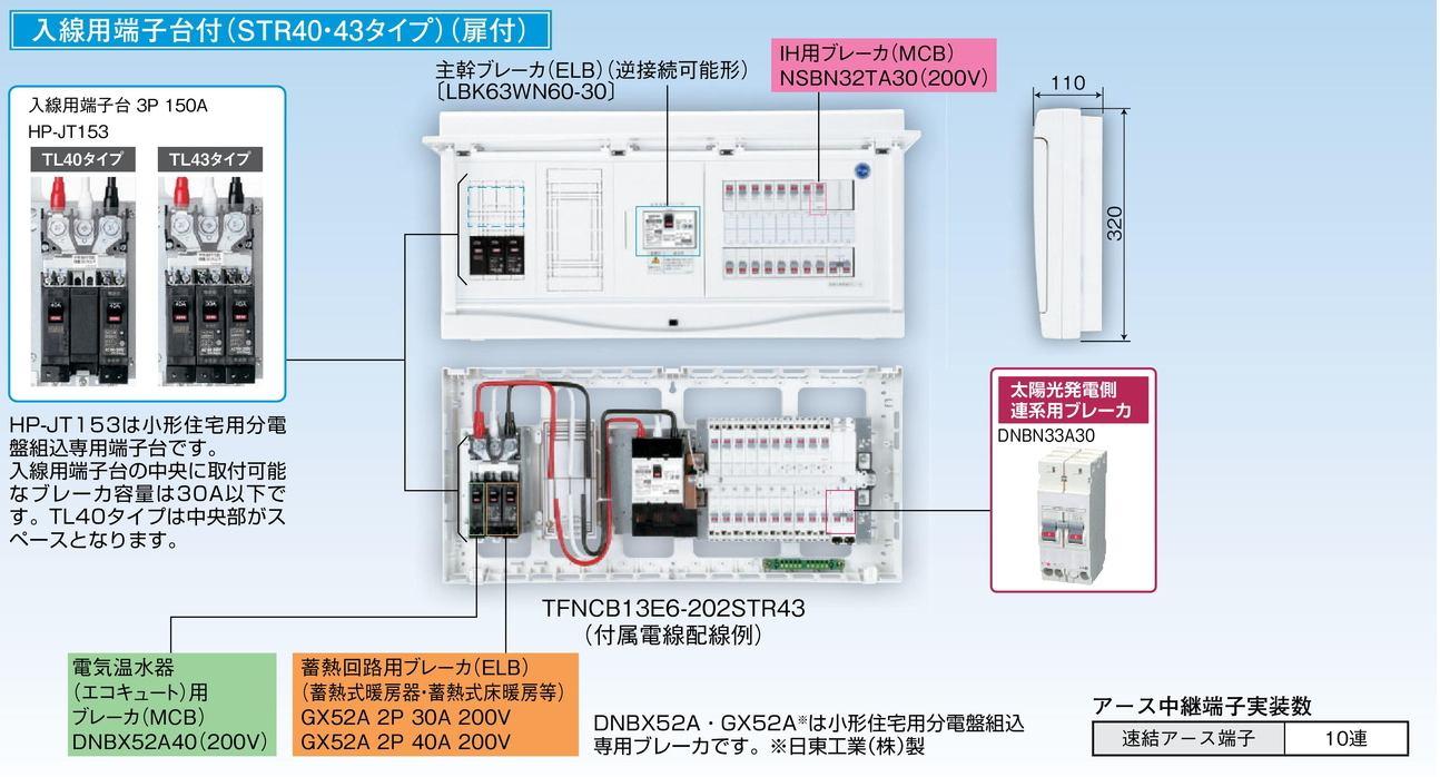 【東芝】小形住宅用分電盤N 扉付・機能付 全電化 TFNCB13E6-202STR43