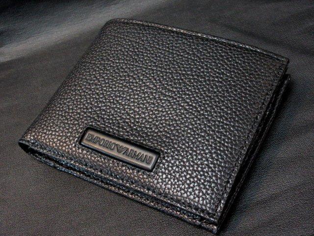 本物正規■エンポリオ アルマーニ■二つ折り財布 レザー黒■新品/portamonte