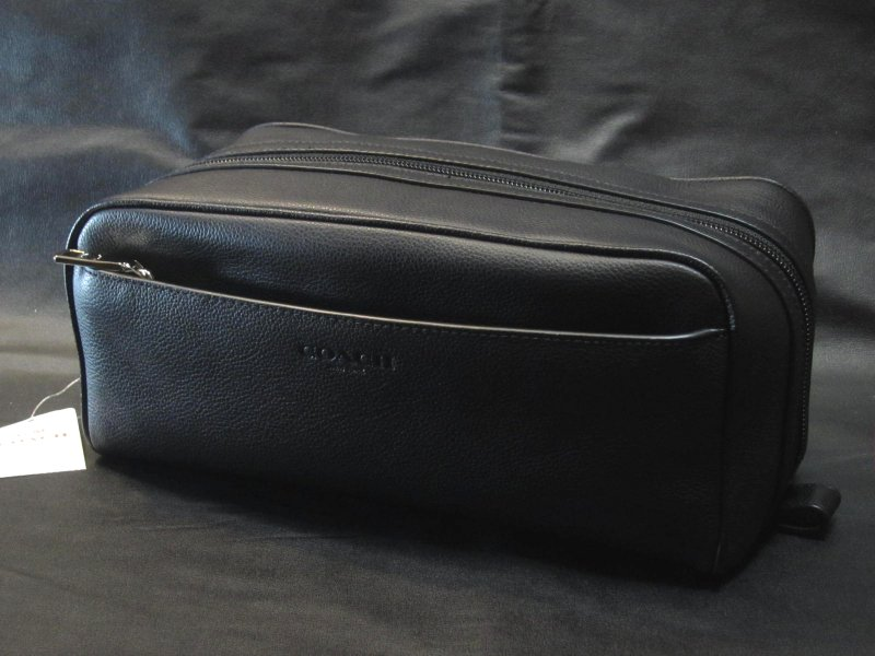本物箱付■COACHコーチ■セカンドバッグ レザー TRAVEL KIT/58542 黒