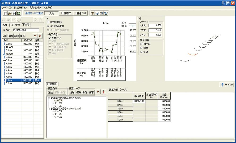 等流・不等流の計算・3DCAD Ver.7
