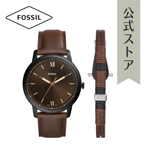 【1000円OFFクーポン配布中/25日まで】【公式ショッパープレゼント】 2019 夏の新作 フォッシル 腕時計 ブレスレット セット 公式 2年 保証 Fossil メンズ FS5557SET THE MINIMALIST 3H 44mm