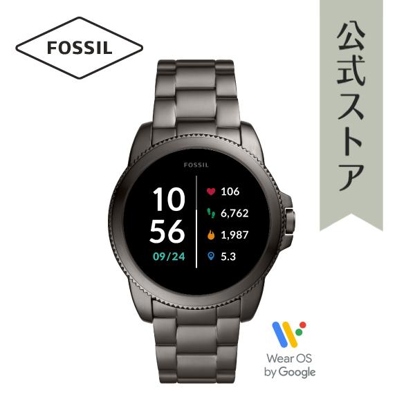 iPhone Android 対応 送料無料 マラソン期間限定 ポイント20倍 30%OFF 2021 春の新作 フォッシル スマートウォッチ メンズ 日本製 タッチスクリーン GEN 保証 公式 高級な FTW4049 腕時計 FOSSIL 5E スモーク SMARTWATCH 2年