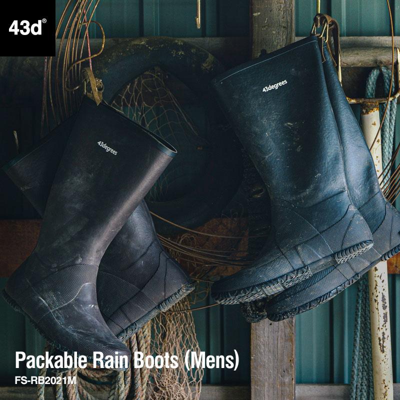 汚れるたびに足に馴染むレインブーツ 環境に応じてタフに使える ライトワークブーツ レインブーツ メンズ ロング 43DEGREES ご注文で当日配送 Packable RainBoots パッカブル 長靴 バイク 作業靴 ブラウン 軽量 折りたたみ おしゃれ 43d ワークブーツ 初回限定 ブラック FS-RB2021M
