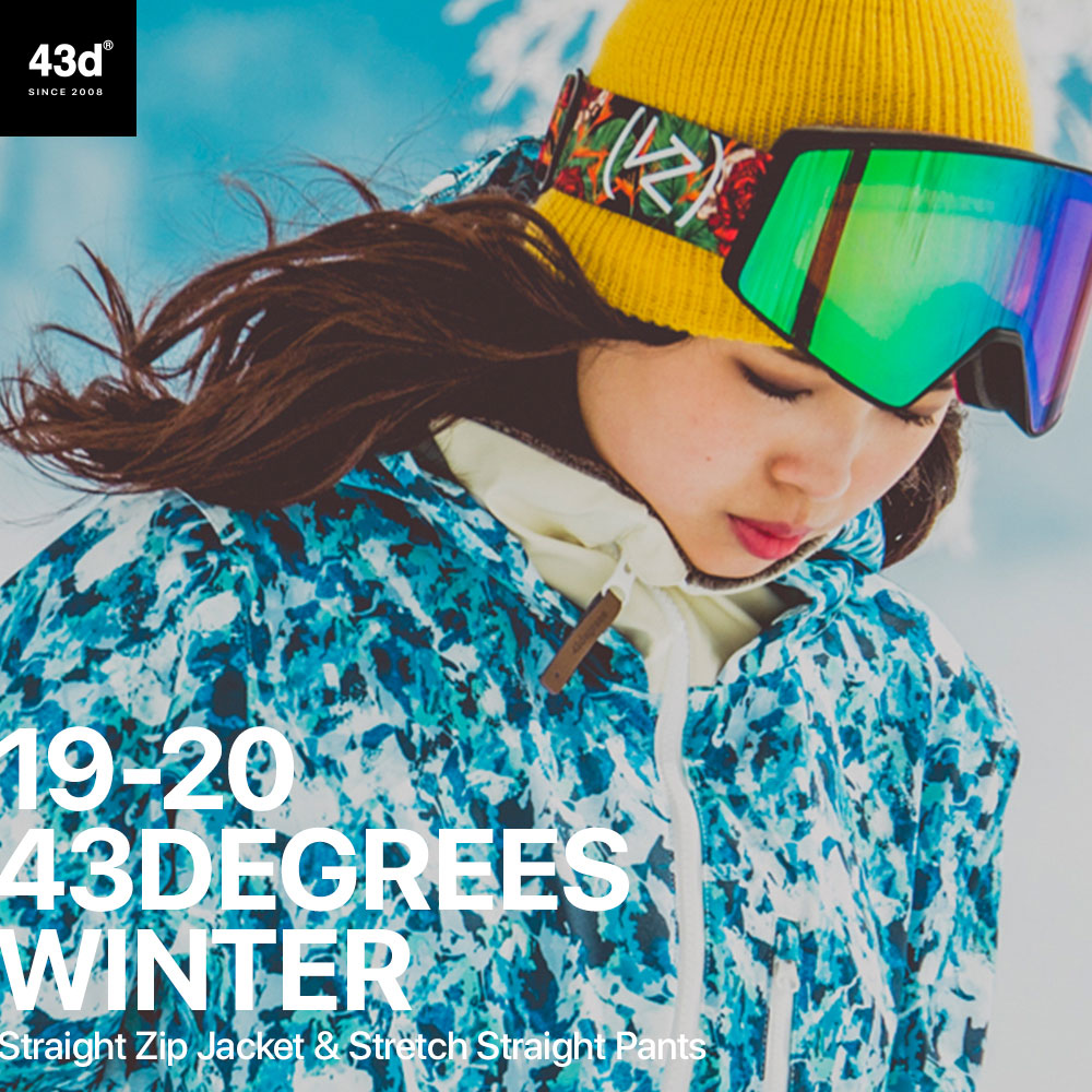 スノーボードウェア 43DEGREES スキーウェア 上下セット レディース 2019-2020モデル ストレートジップジャケット+ストレッチ ストレートパンツ セット スノボウェア スノーボード ウェア スノボ ボードウエア 43d
