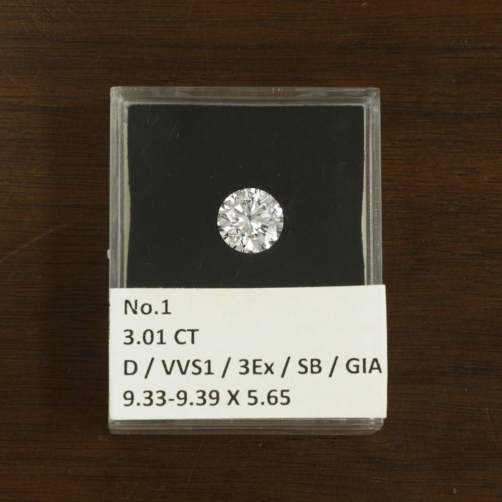 3-Carat natural diamond loose 3ct/D color /VVS-1/3 EX GIA appraiser with