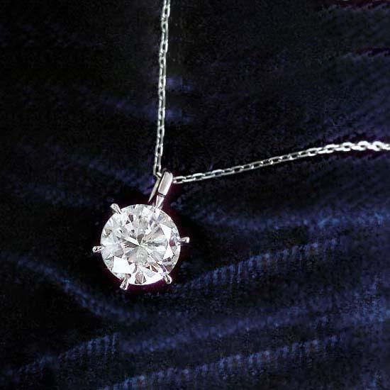 ダイヤモンド ネックレス ペンダント 1ct 1.0ct K18WG 18金 ホワイトゴールド 無色 Gカラー Hカラー Iカラー 相当 6本爪 ティファニー セッティング 1粒 一粒 送料無料 鑑定書付 4月誕生石