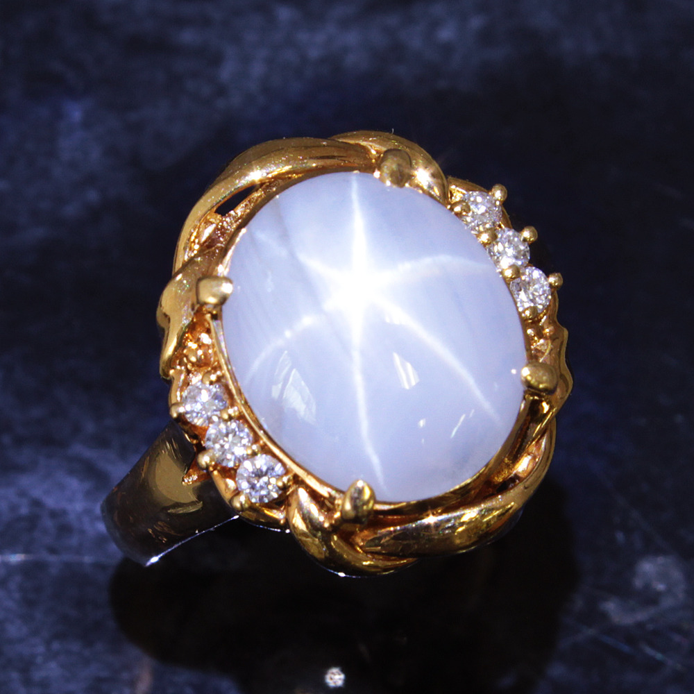 【鑑別書付】4.9ct 非加熱 スターサファイア ダイヤモンド K18 イエローゴールド リング 指輪 9月誕生石// 【コンビニ受取対応商品】