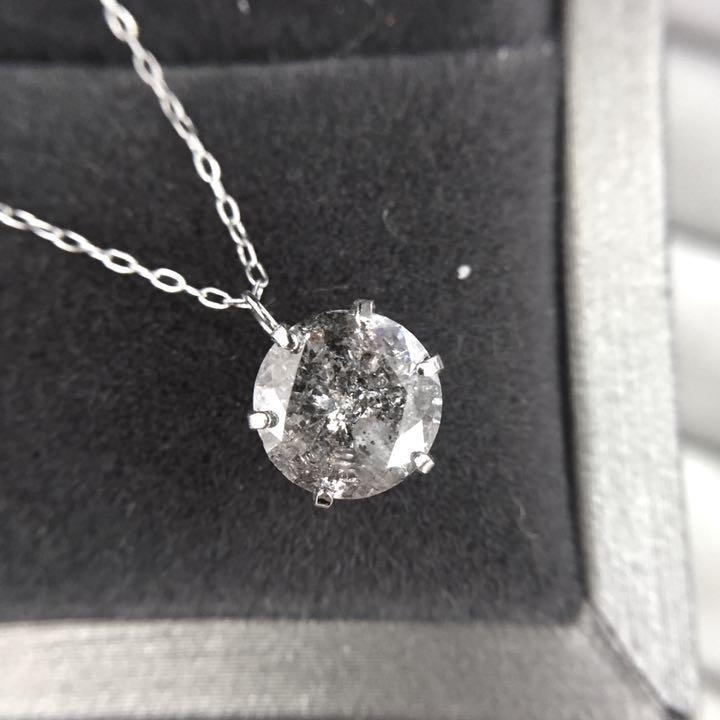 【鑑定書付】 1.5ct ライトグレー ダイヤモンド Pt900 プラチナ ペンダント ネックレス 4月誕生石 //