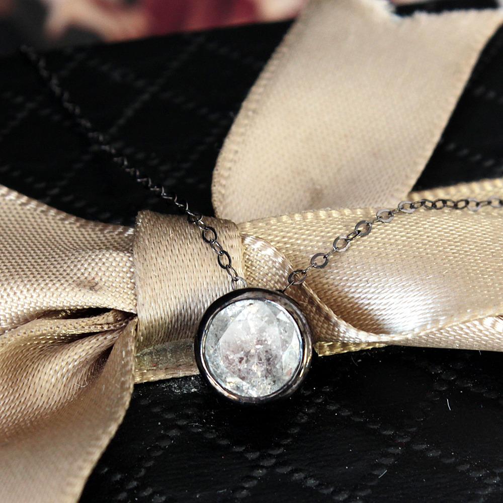 【鑑定書付】 1ct 天然 ダイヤモンド K18 ネックレス ペンダント フクリン デザイン 4月誕生石[楽ギフ_包装] [送料無料]