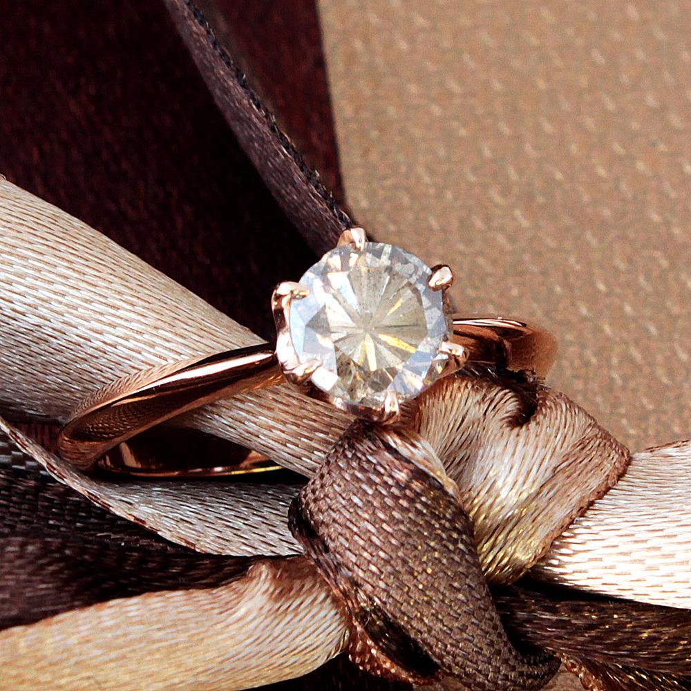 【鑑定書付】 0.9ct SI-2 F.L.Brown ダイヤモンド K18 ピンクゴールド リング 指輪 4月誕生石[楽ギフ_包装] [送料無料]