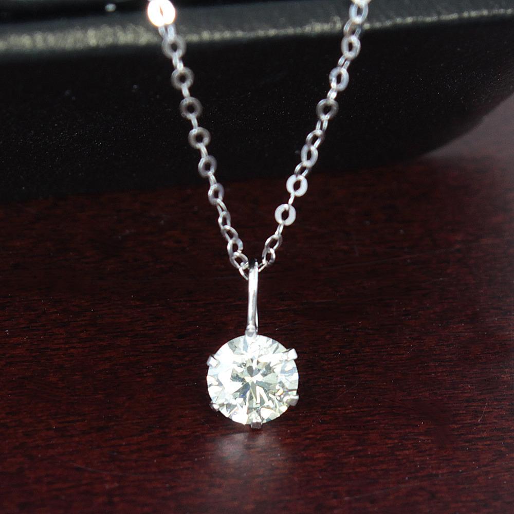 【鑑定書付】 0.3ct SI-2 ダイヤモンド K18 ホワイトゴールド WG ペンダント ネックレス 4月誕生石// 【コンビニ受取対応商品】