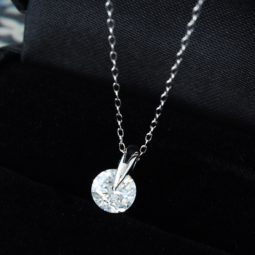 【鑑定書付】 0.6ct Fカラー ダイヤモンド Pt900 プラチナ ペンダント ネックレス 4月誕生石 //