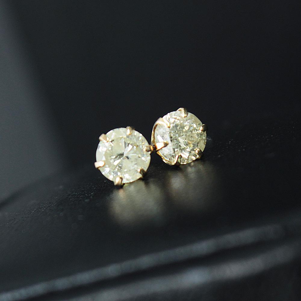 【鑑別書付】 計0.8ct ダイヤモンド K18 イエローゴールド ピアス 4月誕生石 【コンビニ受取対応商品】