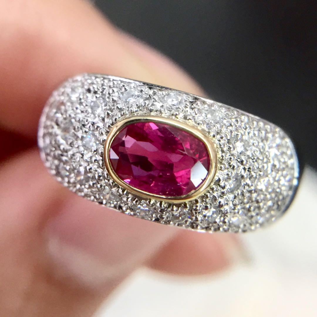 【鑑別書付】 0.6ct ルビー 0.3ct ダイヤモンド デザイン リング K18 Pt900 コンビ 指輪 7月誕生石[楽ギフ_包装] [送料無料]