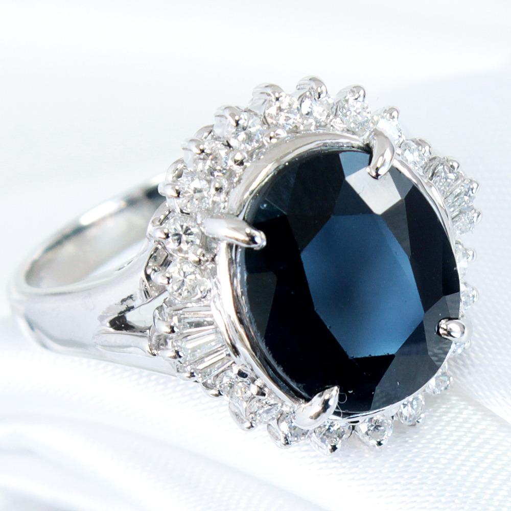 【鑑別書付】 5ct サファイア 0.3ct ダイヤモンド Pt900 プラチナ リング 指輪 9月誕生石// 【コンビニ受取対応商品】