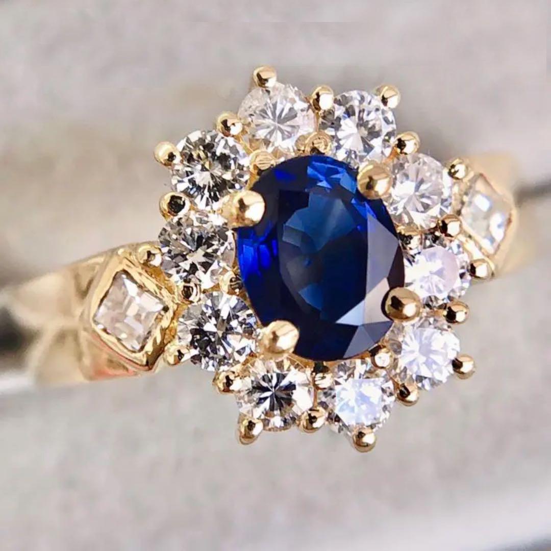 【鑑別書付】 ほぼ 1ct ロイヤルブルー サファイア 0.7ct ダイヤモンド K18 イエローゴールド リング 指輪 9月誕生石// 【コンビニ受取対応商品】
