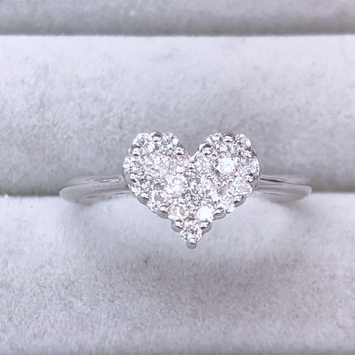 【在庫処分値下げ】 【鑑別書付】0.3ct ダイヤモンド K18WG ホワイトゴールド スィート ハート リング 指輪 4月誕生石//