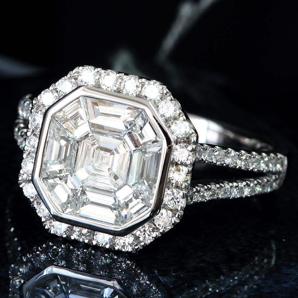 【在庫処分値下げ】 【鑑別書付】計 1ct 高透明度 ダイヤモンド K18WG ホワイトゴールド リング 指輪 4月誕生石// 【コンビニ受取対応商品】