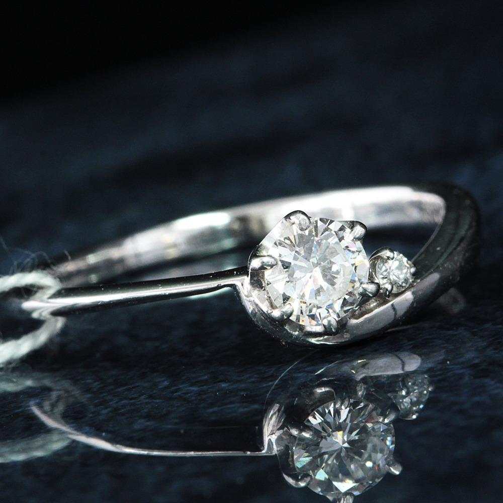 【在庫処分値下げ】 【鑑定書付】0.2ct H VVS-2 ダイヤモンド K18WG ホワイトゴールド リング 指輪 4月誕生石//
