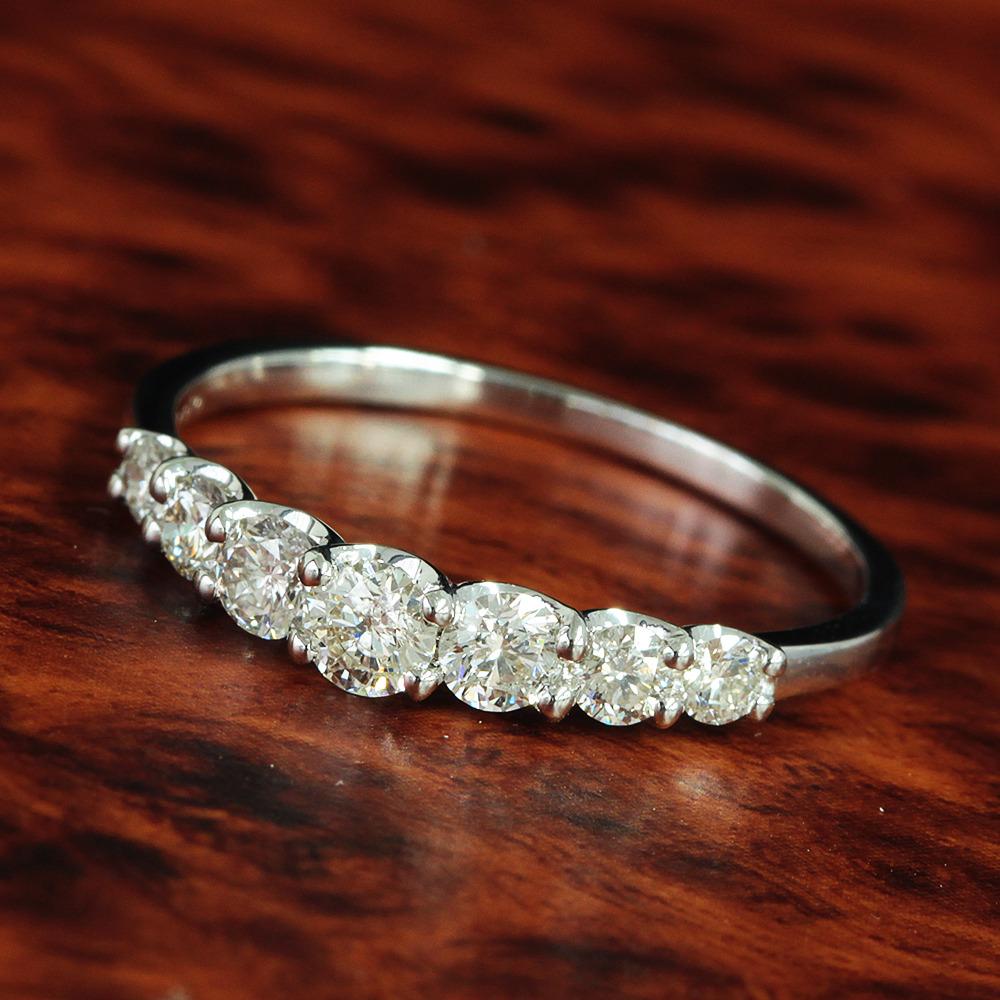 【鑑別書付】0.5ct ダイヤモンド K18WG ホワイトゴールド 一文字 リング 指輪 4月誕生石//