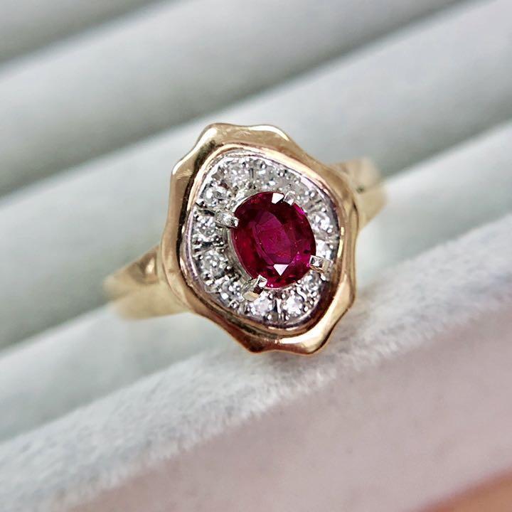【鑑別書付】 0.6ct ルビー ダイヤモンド デザイン リング K18 Pt900 コンビ 指輪 7月誕生石[楽ギフ_包装] [送料無料]