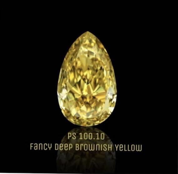 【在庫処分値下げ】 【GIA鑑定書付】100.10ct Fancy Deep brownish yellow VS2 EX EX ダイヤモンド ルース