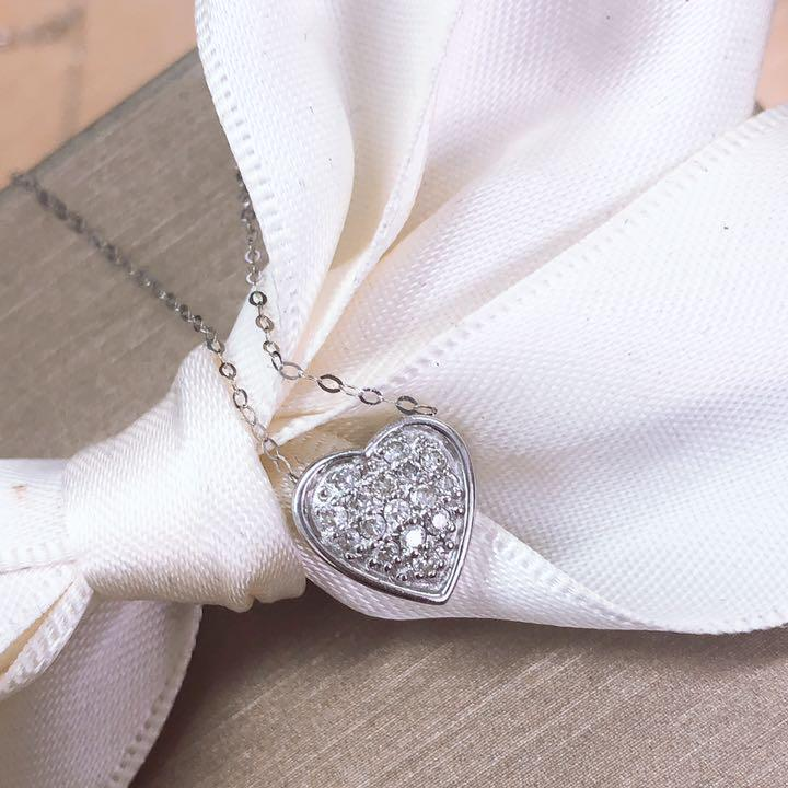 【在庫処分値下げ】 【鑑別書付】 0.2ct ダイヤモンド K18 ホワイトゴールド ハート ペンダント ネックレス 18金 4月誕生石// 【コンビニ受取対応商品】