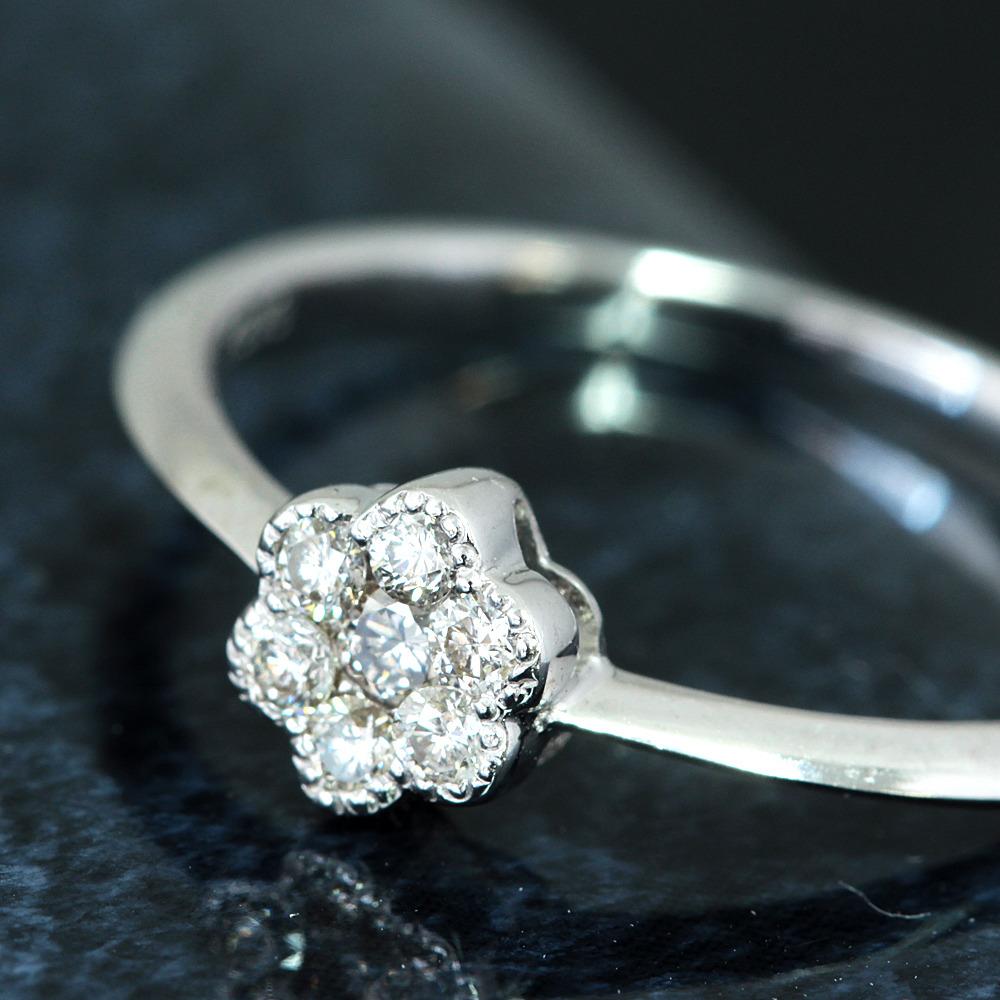【在庫処分値下げ】 【鑑別付】0.15ct ダイヤモンド K18WG ホワイトゴールド フラワー リング 指輪 4月誕生石//