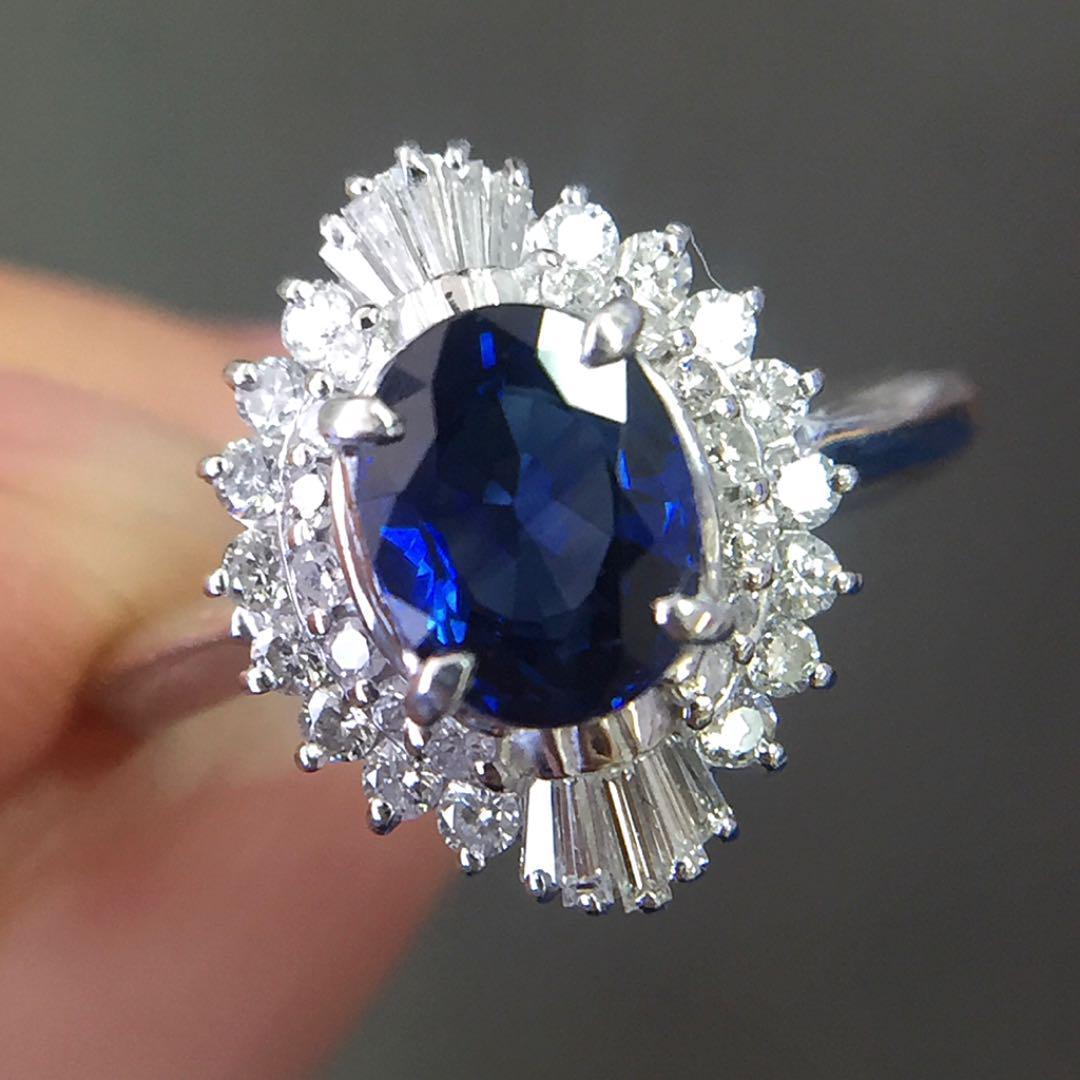 【鑑別書付】1ct サファイア 0.3ct ダイヤモンド Pt900 プラチナ リング 指輪 9月誕生石//