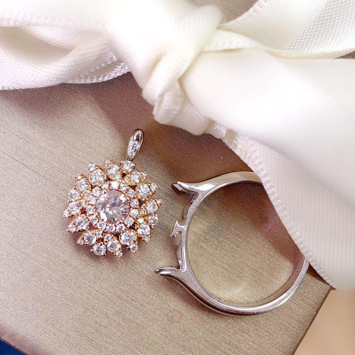 【鑑定書付】 0.3ct 天然 ピンクダイヤモンド K18 リング兼ペンダント  2WAY 指輪 4月誕生石// 【コンビニ受取対応商品】