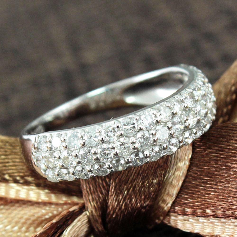 【在庫処分値下げ】 【鑑別書付】1ct ダイヤモンド パヴェ K18WG ホワイトゴールド リング 指輪 4月誕生石// 【コンビニ受取対応商品】
