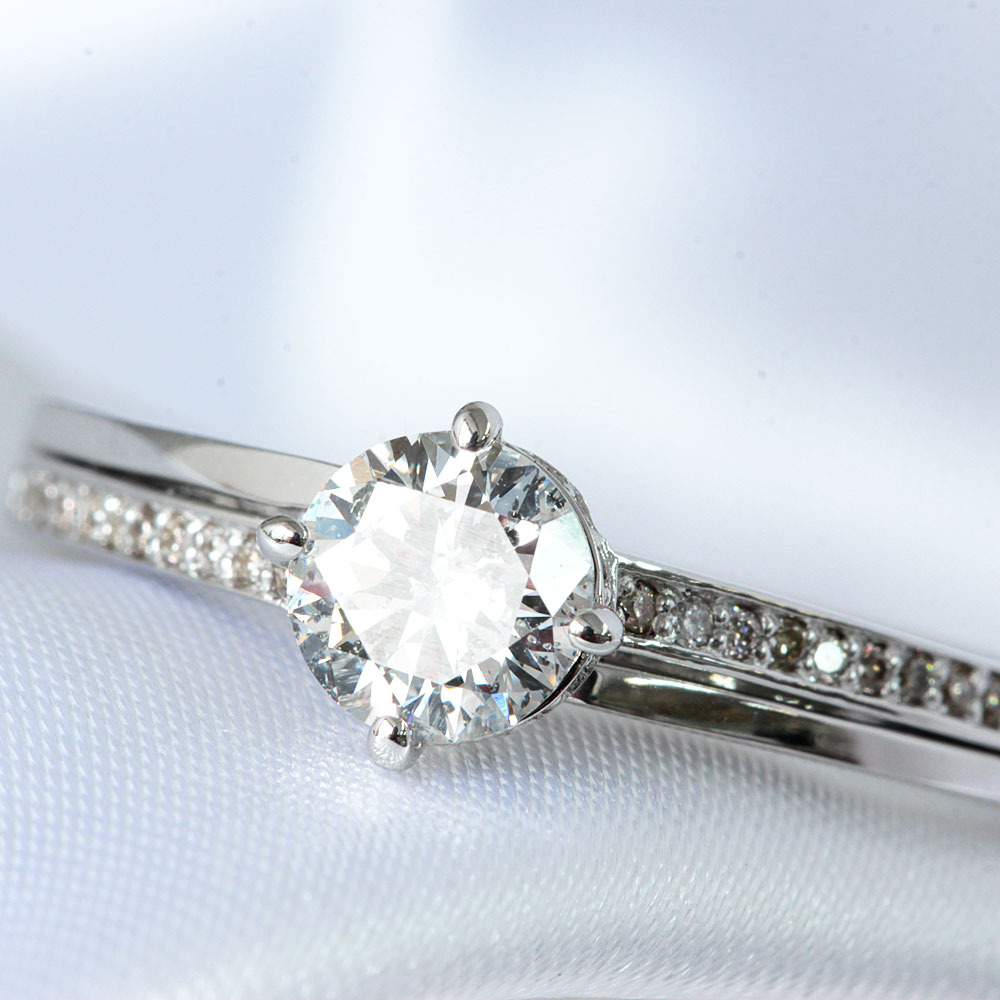 【鑑定書付】0.5ct D SI-2 Good ダイヤモンド K18 ホワイトゴールド リング 指輪 4月誕生石// 【コンビニ受取対応商品】