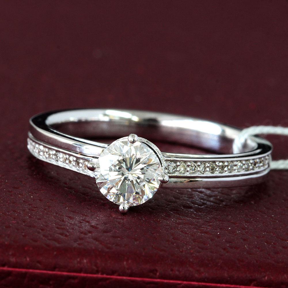 【在庫処分値下げ】 【鑑定書付】0.6ct E SI1 V.Good ダイヤモンド K18 ホワイトゴールド リング 指輪 4月誕生石// 【コンビニ受取対応商品】