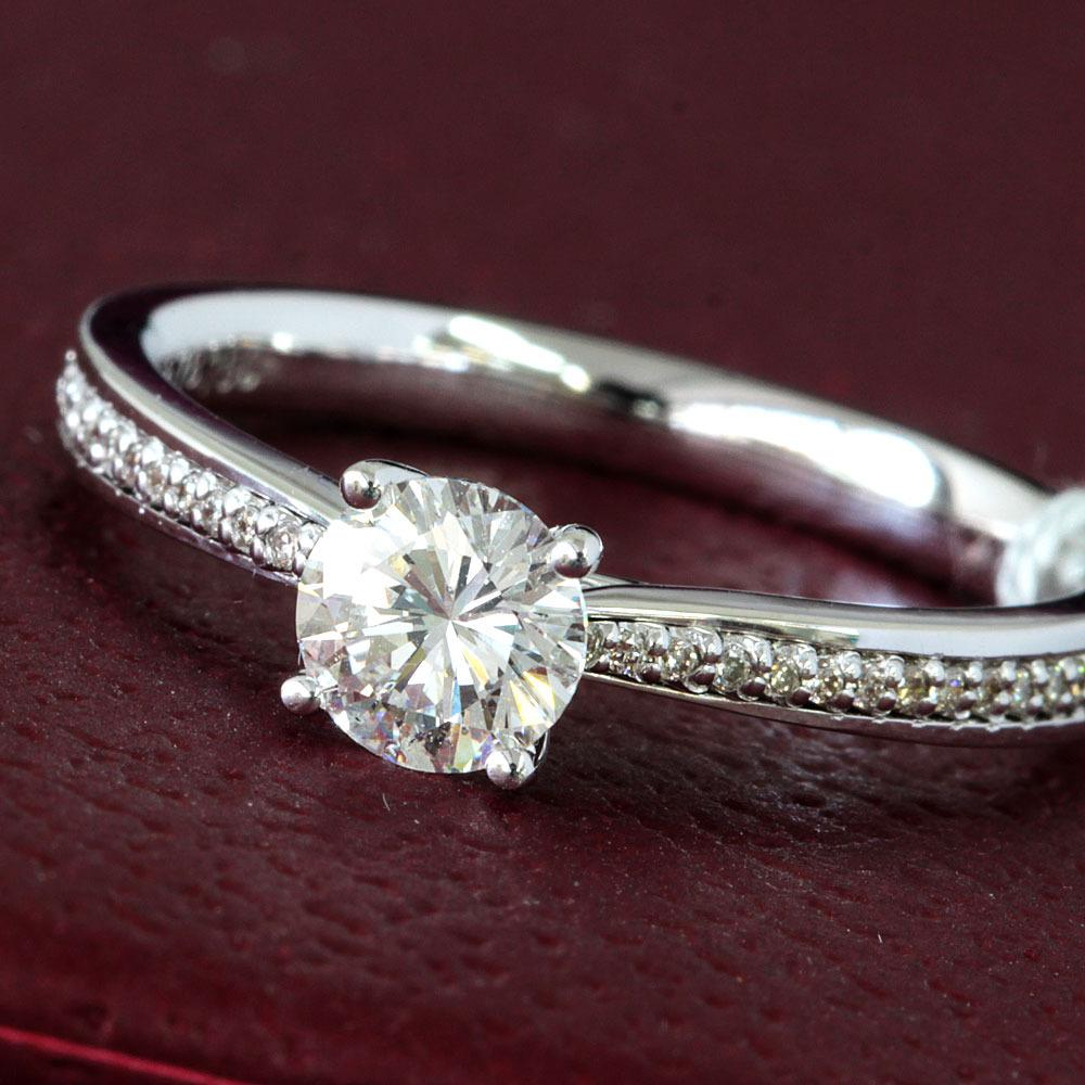 【在庫処分値下げ】 【鑑定書付】0.5ct F SI1 Good ダイヤモンド K18 ホワイトゴールド リング 指輪 4月誕生石// 【コンビニ受取対応商品】