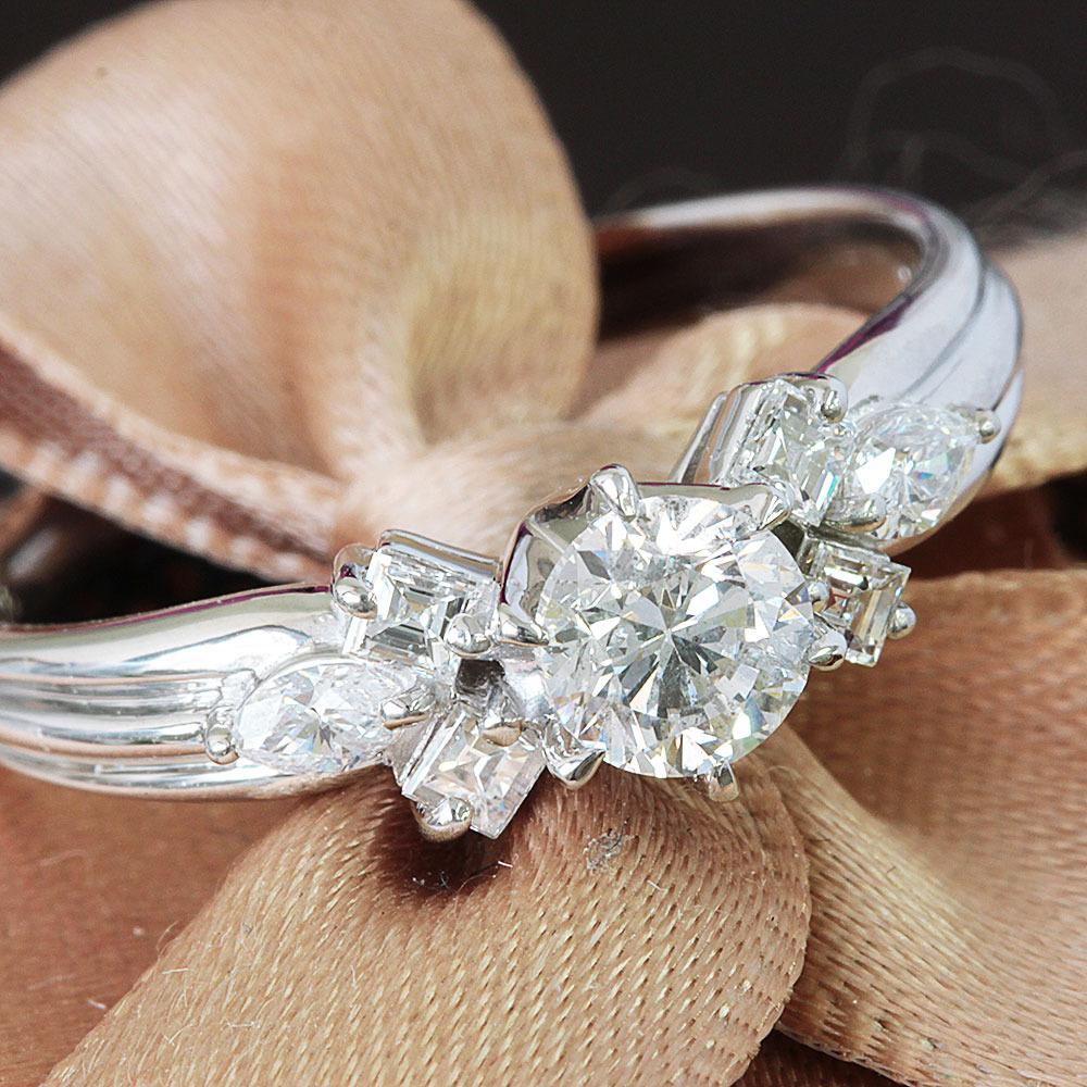 【在庫処分値下げ】 【鑑定書付】0.5ct F SI-2 Good ダイヤモンド Pt900プラチナ リング 指輪 4月誕生石// 【コンビニ受取対応商品】