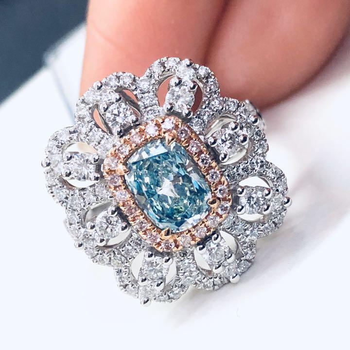 【鑑定書付】 0.8ct 天然 ブルーダイヤモンド K18 リング兼ペンダント 2WAY 指輪 4月誕生石// 【コンビニ受取対応商品】