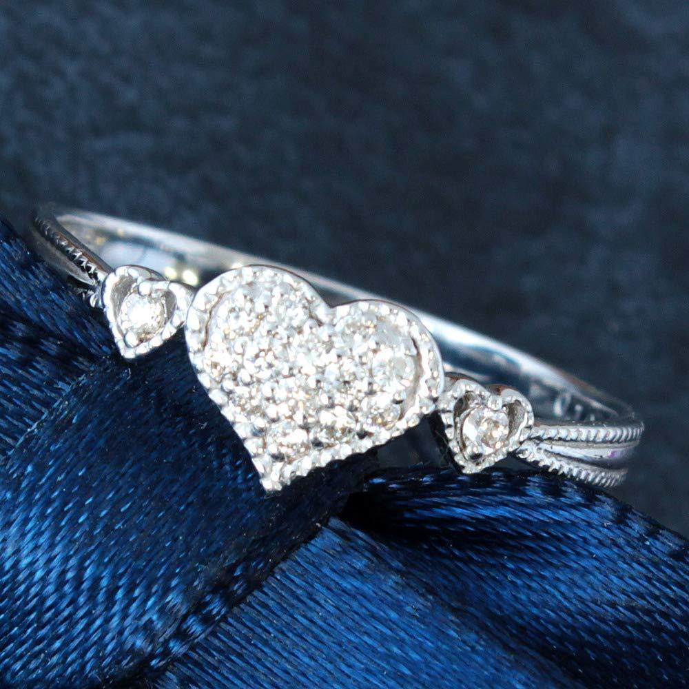 【在庫処分値下げ】 【鑑別付】0.1ct ダイヤモンド K18WG ホワイトゴールド ハート リング 指輪 4月誕生石//