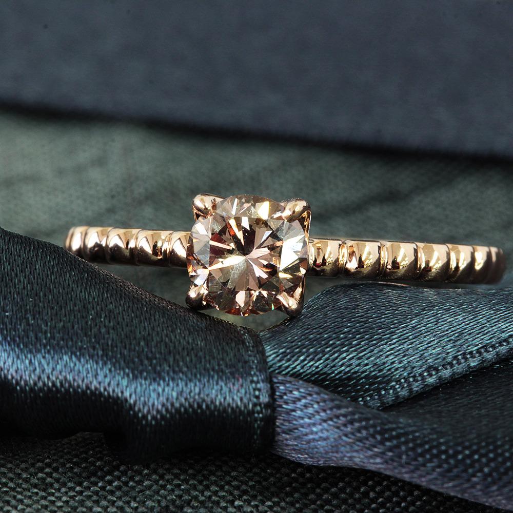 【鑑定書付】 0.6ct SI-1 F.Brown ダイヤモンド K18 ピンクゴールド リング 指輪 4月誕生石[楽ギフ_包装] [送料無料]