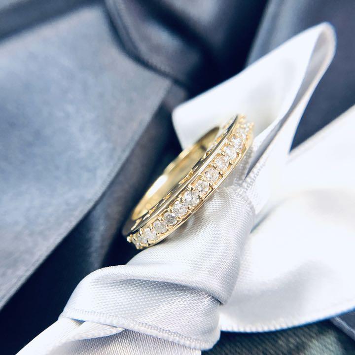 【在庫処分値下げ】 【鑑別書付】0.3ct ダイヤモンド ムーンスター ハーフエタニティ K18 イエローゴールド リング 指輪 4月誕生石