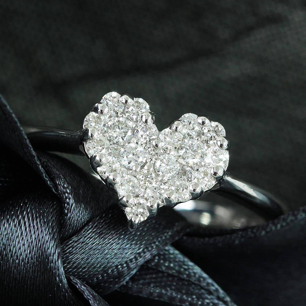 【鑑別書付】0.3ct ダイヤモンド K18WG ホワイトゴールド スィート ハート リング 指輪 4月誕生石//
