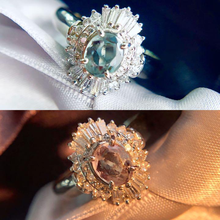 【鑑別書付】 0.5ct アレキサンドライト 0.4ct ダイヤモンド Pt900 プラチナ リング 指輪// 【コンビニ受取対応商品】