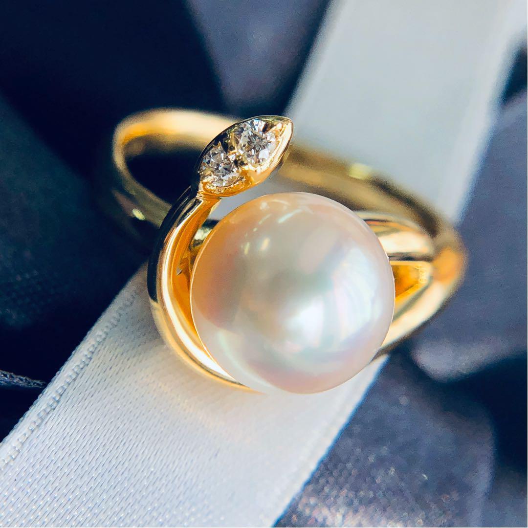【在庫処分値下げ】 【鑑別書付】 アコヤ パール 8.5mm ダイヤモンド K18 イエローゴールド リング あこや 真珠 指輪 6月誕生石[楽ギフ_包装] [送料無料]