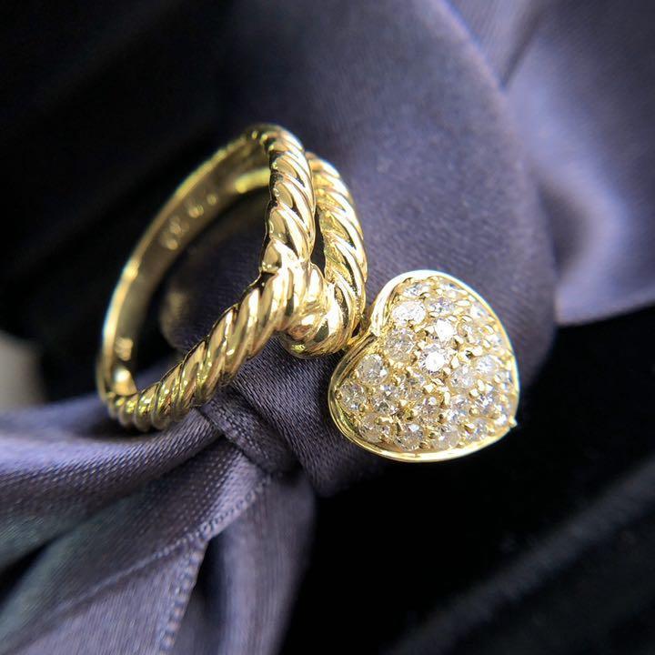 【鑑別書付】0.5ct 揺れるハート ダイヤモンド K18YG イエローゴールド リング 指輪 4月誕生石//
