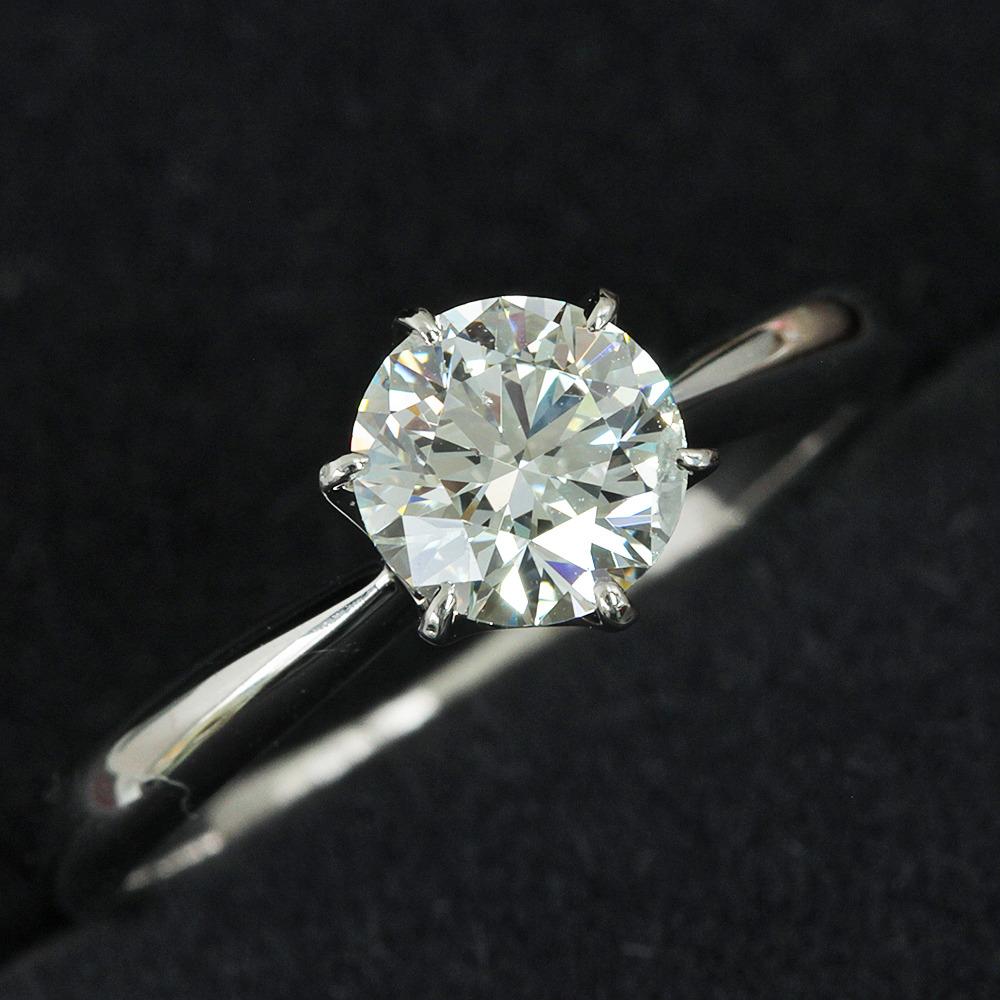 【在庫処分値下げ】 【鑑定書付】0.8ct J SI-2 Excellent ダイヤモンド Pt900プラチナ リング 指輪 4月誕生石// 【コンビニ受取対応商品】