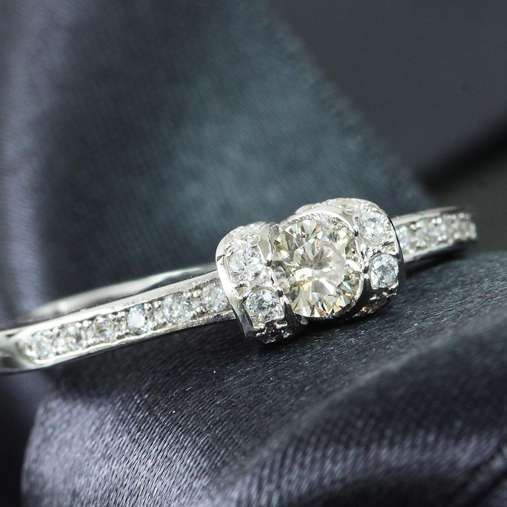 【在庫処分値下げ】 【鑑別書付】 0.2ct ダイヤモンド デザイン K18GPリング 指輪 4月誕生石