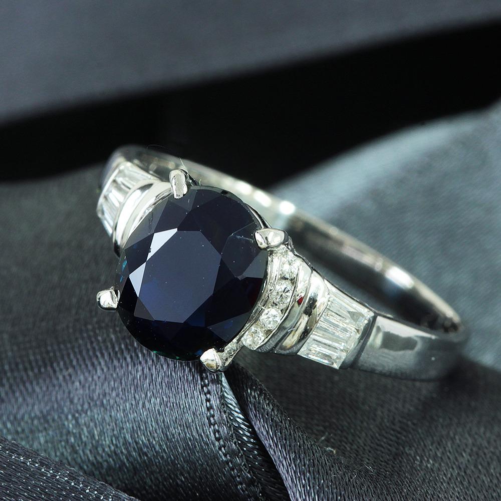 【在庫処分値下げ】 【鑑別書付】2.7ct サファイア 0.1ct ダイヤモンド Pt900 プラチナ リング 指輪 9月誕生石//