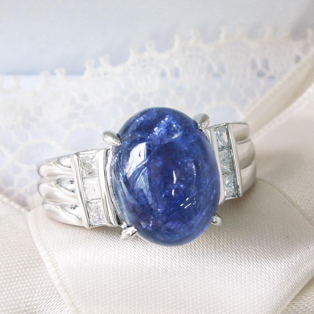 【鑑別書付】8.5ct タンザナイト 0.38ct ダイヤモンド Pt900 リング 指輪 12月誕生石 【コンビニ受取対応商品】