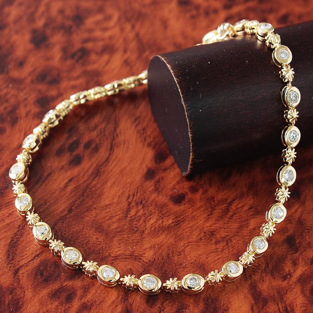 【鑑別書付】0.9ct ダイヤモンド K18 イエローゴールド デザインブレスレット 4月誕生石// 【コンビニ受取対応商品】