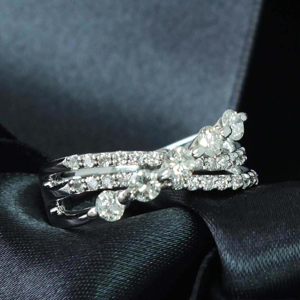 【鑑別書付】 計 0.5ct ダイヤモンド K18 ホワイトゴールド デザイン リング 指輪 4月誕生石// 【コンビニ受取対応商品】