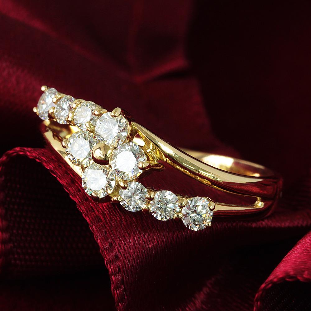 【鑑別書付】 計 0.5ct スウィート10 ダイヤモンド K18 イエローゴールド リング 指輪 4月誕生石// 【コンビニ受取対応商品】